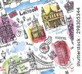 vector london landmark seamless ... | Shutterstock .eps vector #298305344