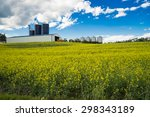 Farm\'s Barn And Silos Behind...