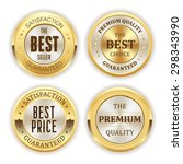 four gold badges on white... | Shutterstock .eps vector #298343990