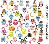 Stock vector set of cats and kittens 298349564