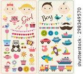 scrapbook boy and girl set | Shutterstock .eps vector #298349570