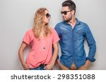 cute young couple leaning on a... | Shutterstock . vector #298351088