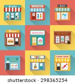 flat icons with different shops ... | Shutterstock .eps vector #298365254
