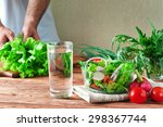 vegetable salad in a bowl of... | Shutterstock . vector #298367744