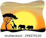 scenery of wild animals in... | Shutterstock .eps vector #298370120