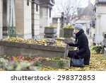 Solitary Woman Mourning With...