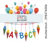 checked banner with balloons ... | Shutterstock .eps vector #298376006
