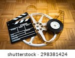 cinema movie clapper board with ... | Shutterstock . vector #298381424