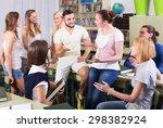 happy students having a... | Shutterstock . vector #298382924