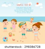 kids on the beach   children... | Shutterstock .eps vector #298386728