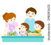 happy family cook healthy food... | Shutterstock .eps vector #298392623