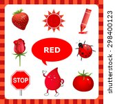 learn the color red  things... | Shutterstock .eps vector #298400123