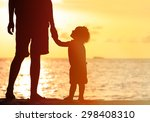 silhouettes of father and... | Shutterstock . vector #298408310