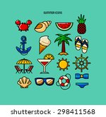 set of summer color icons  | Shutterstock .eps vector #298411568