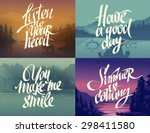 hand drawn lettering on nature... | Shutterstock .eps vector #298411580