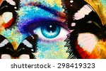 Women Eye And Butterfly  Color...