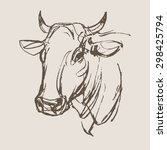 cow vector  hand draw sketch  | Shutterstock .eps vector #298425794