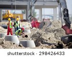 small excavator and workers at... | Shutterstock . vector #298426433