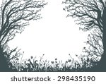 thicket, two big fair trees,deep fairy forest silhouette, shadows - stock vector