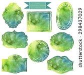 vintage green frames.... | Shutterstock . vector #298437029