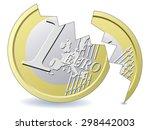 cracked euro coin | Shutterstock .eps vector #298442003