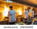 chef in restaurant kitchen at... | Shutterstock . vector #298448489