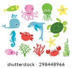 cute vector sea creatures. set... | Shutterstock .eps vector #298448966