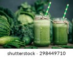 blended green smoothie with... | Shutterstock . vector #298449710