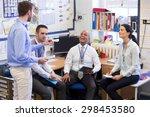 school teachers gather in a... | Shutterstock . vector #298453580
