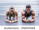 portrait of a muscular couple... | Shutterstock . vector #298454468