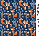 seamless pattern with foxes ... | Shutterstock .eps vector #298457864