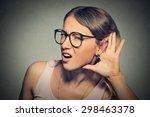 closeup portrait young nosy...   Shutterstock . vector #298463378