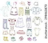 hand drawn set of different... | Shutterstock .eps vector #298463870