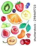 watercolor kiwi strawberry... | Shutterstock . vector #298469723