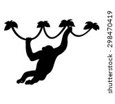 Monkey Silhouette  Vector On A...