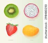 set of polygonal fruit halves.... | Shutterstock .eps vector #298480250