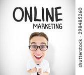geeky businessman with mug... | Shutterstock . vector #298485260