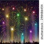 fireworks at night | Shutterstock . vector #298486454