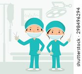 surgeons in the operation... | Shutterstock .eps vector #298496294