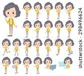 set of various poses of yellow... | Shutterstock .eps vector #298496624