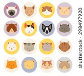 set of cute cats flat icons ... | Shutterstock .eps vector #298497920