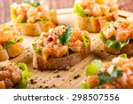 canape with smoked salmon  on... | Shutterstock . vector #298507556