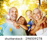 family playing outdoors... | Shutterstock . vector #298509278