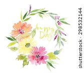 watercolor greeting card... | Shutterstock . vector #298532144