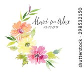 watercolor greeting card... | Shutterstock . vector #298532150