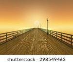 Wet Pier On The Sea At Sunset....