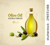 bottle of oil with green and... | Shutterstock .eps vector #298551488
