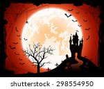 halloween night background with ... | Shutterstock .eps vector #298554950