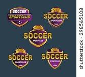 purple gold badge soccer logo   Shutterstock .eps vector #298565108