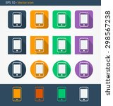 smartphone flat icon set with...